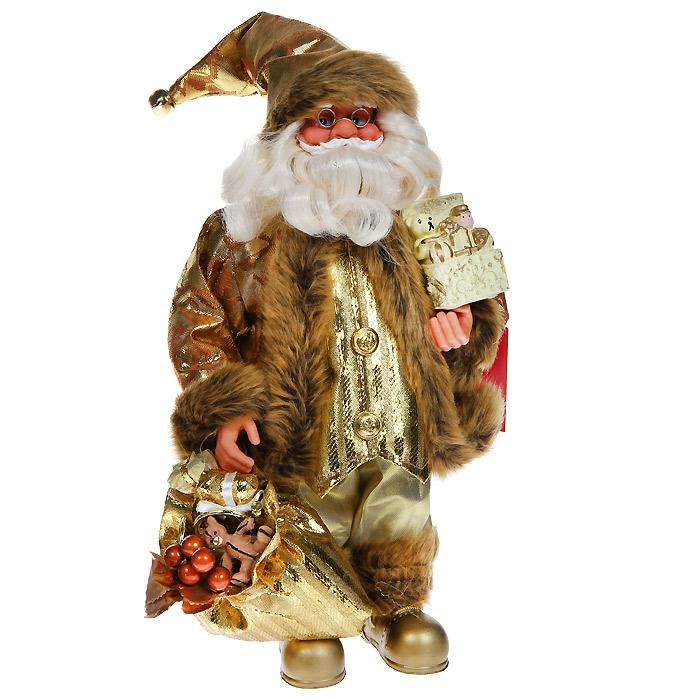 Новогодняя декоративная фигурка Санта, 30 см. 3101931019Новогодняя декоративная фигурка выполнена из пластика в виде Санта Клауса. Санта одет в золотистые брюки и парчовую шубу с опушкой. На голове - колпак с мехом и бубенчиком на конце. В одной руке Санта держит мешок с подарками, в другой руке - коробочку с подарками. Его добрый вид и очаровательная густая, белая борода притягивают к себе восторженные взгляды. Декоративная фигурка Санта подойдет для оформления новогоднего интерьера и принесет с собой атмосферу радости и веселья. Коллекция декоративных украшений из серии «Magic Time» принесет в ваш дом ни с чем не сравнимое ощущение волшебства! Новогодние украшения всегда несут в себе волшебство и красоту праздника. Создайте в своем доме атмосферу тепла, веселья и радости, украшая его всей семьей. Характеристики: Материал: пластик, текстиль. Размер фигурки: 16 см х 10 см х 30 см. Размер упаковки: 16 см х 10 см х 30 см. Артикул: 31019.