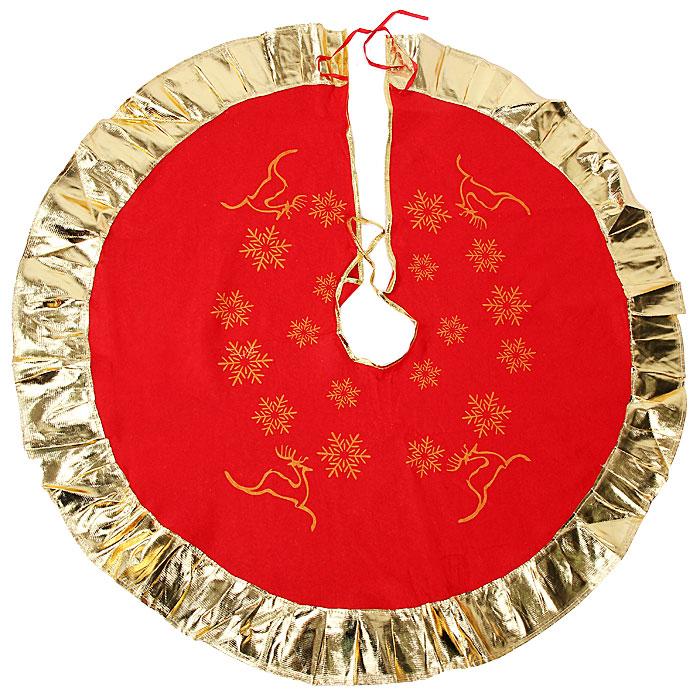 Новогоднее украшение Юбка для ели. 3209432094Новогоднее украшение Юбка для ели выполнено из синтетического фетра и полиэстера. Украшение представляет собой юбку красного цвета с золотистой окантовкой, украшенную рисунками снежинок и оленей, предназначенную для декорирования праздничной ели. Также с помощью данной юбки вы сможете изящно задрапировать основание ели. Удобные завязочки позволят быстро и комфортно украсить вашу ель. Новогодние украшения приносят в дом волшебство и ощущение праздника. Создайте в своем доме атмосферу веселья и радости с таким оригинальным новогодним украшением.