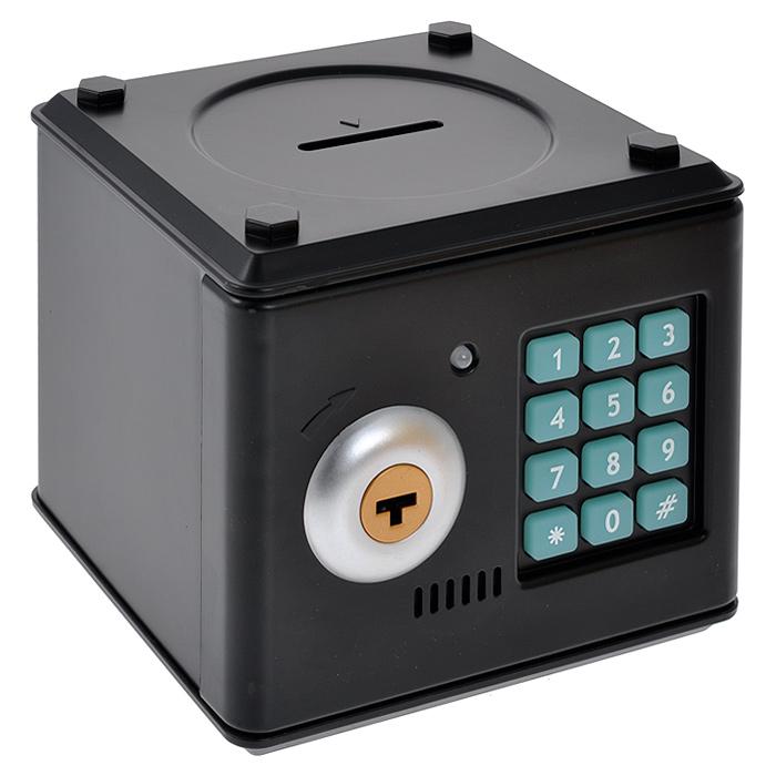 Копилка Сейф с ключом, цвет: черный. 9492794927Копилка Сейф, выполненная из пластика черного цвета, работает как настоящий сейф. Чтобы ее открыть, нужно ввести 4-значный цифровой пароль (настоящий пароль 0000), прокрутить ключ и открыть дверь. Когда дверь открывается или закрывается, горит лампочка и воспроизводится скрипучий звук. Пароль можно сменить. Для этого введите пароль 0000, откройте крышку, удерживайте кнопку * (при этом одновременно загорится лампочка), в течение 15 секунд введите новый пароль, нажмите кнопку # (лампочка перестанет гореть), отпустите кнопку * и закройте дверь. Сейф оснащен отверстием для монет. Внутри можно хранить не только деньги, но и другие ценные вещи. Работает от 3 батареек типа АА (в комплект не входят). Характеристики: Материал: пластик. Цвет: черный. Размер копилки: 13 см х 12 см х 12,5 см. Размер упаковки: 14 см х 15 см х 13 см. Артикул: 94927.