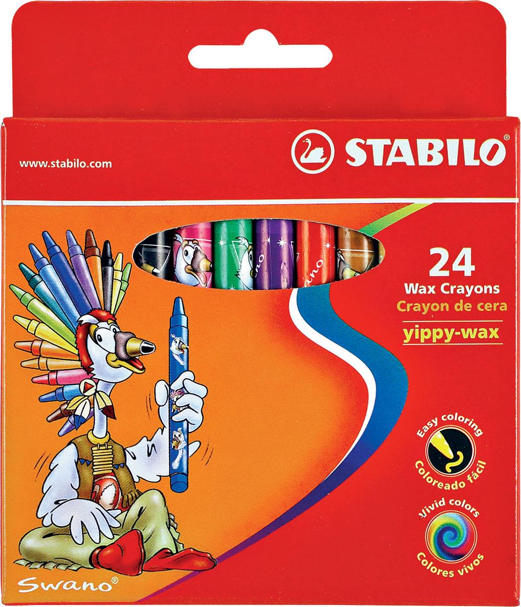 Восковые мелки Stabilo Yippy-wax, 24 цветаК-1181-012Цветные восковые мелки отличаются необыкновенной яркостью и стойкостью цвета. Легко смешиваются и позволяют создавать огромное количество оттенков. Очень прочные, не крошатся, не ломаются, не образуют пыли, не нуждаются в затачивании. Каждый мелок в индивидуальной бумажной упаковке. Характеристики:Материал:воск. Диаметр мелка:1 см. Длина мелка:9,3 см. Размер упаковки:10,5 см х 12 см х 1,5 см. Изготовитель:Малайзия.