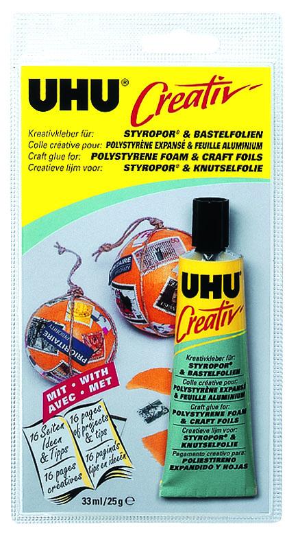 Клей UHU Creativ для пенополистирола и фольги, 33 мл6182Клей UHU Creativ - клей на основе искусственного каучука, идеален для склеивания стиропора, металлической (алюминиевой) фольги, целлофана, полиэстеровой или ПВХ-фольги между собой и в сочетании с другими материалами.Не агрессивен по отношению к разным сортам пенопласта, прозрачен, практически без запаха, нейтрален, устойчив к воздействию воды. Не разъедает поверхность чувствительных материалов, защищая цветное покрытие алюминиевой фольги. Остатки клея можно удалить с помощью лёгкого бензина.Инструкция по применениюСклеиваемые поверхности должны быть чистыми, сухими и обезжиренными. Нанесите Клей на обе поверхности и оставьте подсохнуть его до тех пор, пока он не прекратит прилипать к пальцам (это займёт от 5 до 20 минут в зависимости от материала). После этого просто прижмите склеиваемые поверхности друг к другу. Характеристики:Объем: 33 мл. Размер упаковки: 19 см х 9,5 см х 3 см.