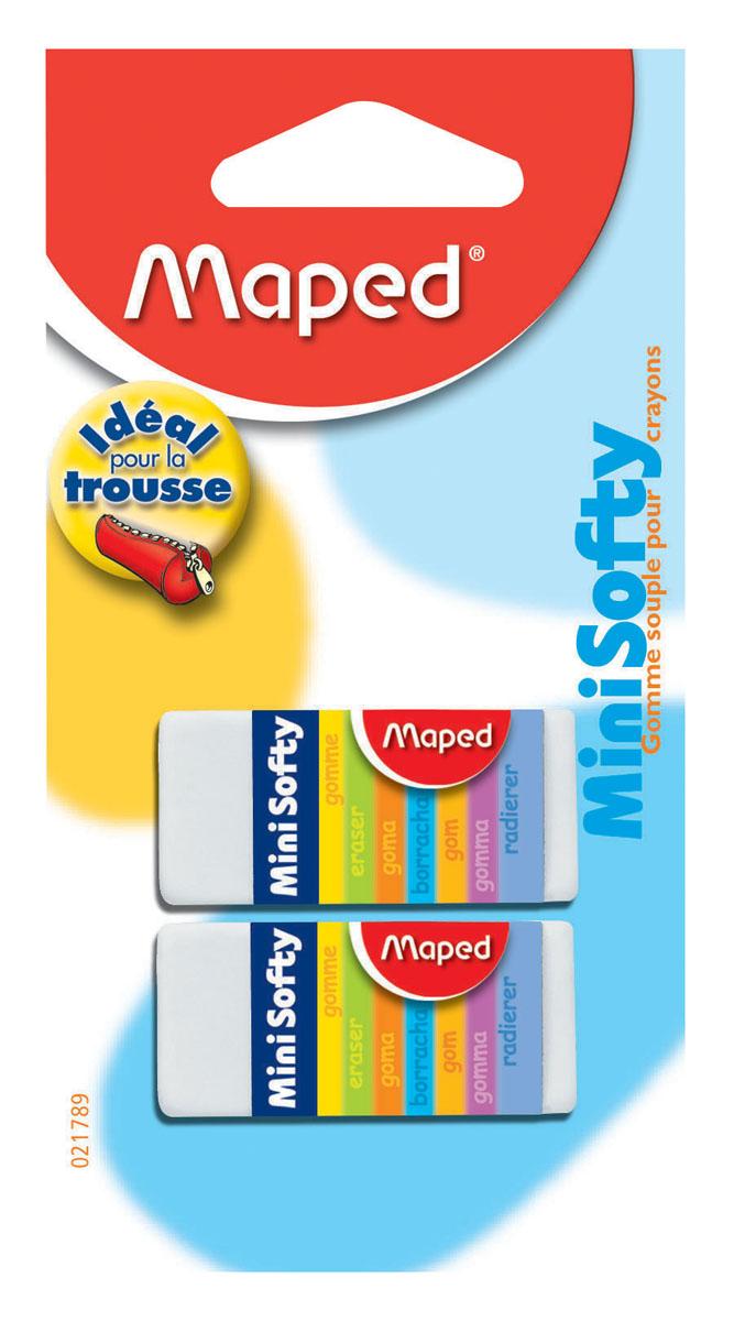Набор ластиков Maped Мини Софти, 2 шт021789Мини-размер ластика Мини Софти идеален для пеналов. Мягкая структура ластика обеспечивает комфортное стирание. Подходит для стирания карандашей и чернил. В наборе 2 одинаковых ластика белого цвета. Характеристики: Материал: каучук. Размер ластика: 4 см x 1,7 см x 1 см. Размер упаковки: 12,5 см х 6,5 см х 1,5 см. Изготовитель: Китай.