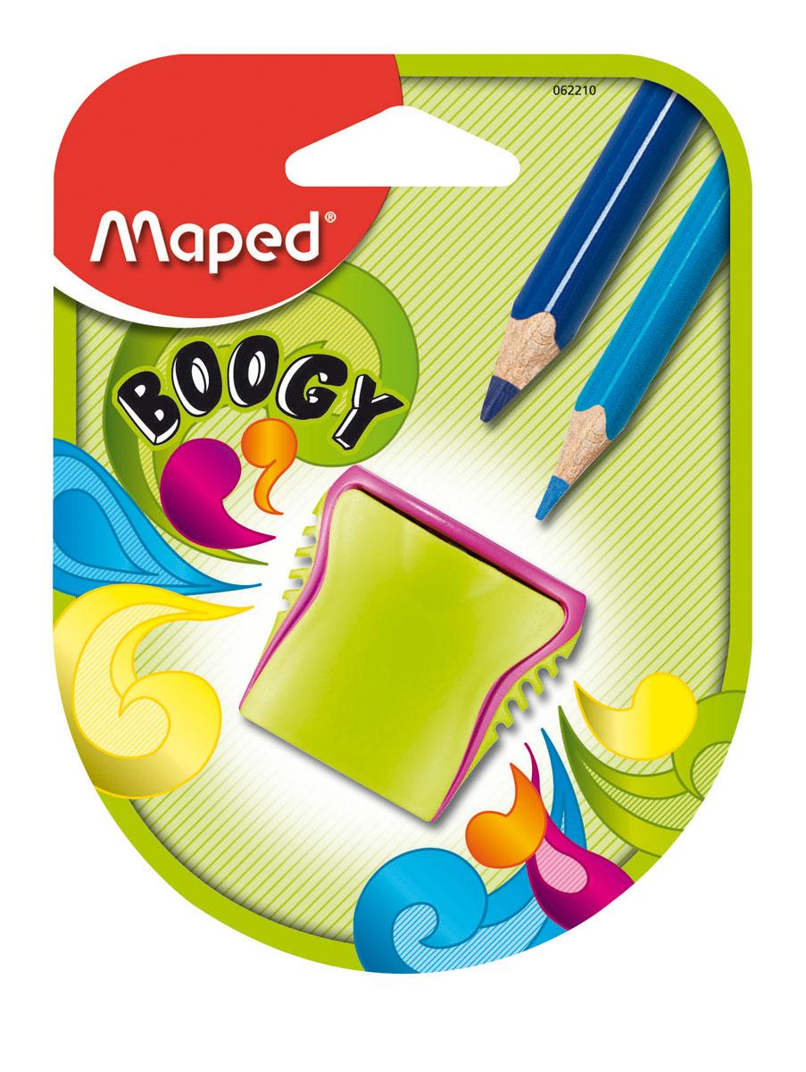 Точилка пластиковая Maped Boogy, 2 отверстия, с контейнером062210Точилка пластиковая Maped Boogy - яркая, оригинальная точилка на два отверстия, с рифленой областью обхвата. Компактная по размеру, изготовлена из неломающихся - ударопрочных материалов. Неотделимый контейнер: потеря исключена. Характеристики: Размер: 3,8 см x 2,5 см x 4 см. Материал: пластик, металл. Изготовитель: Китай.