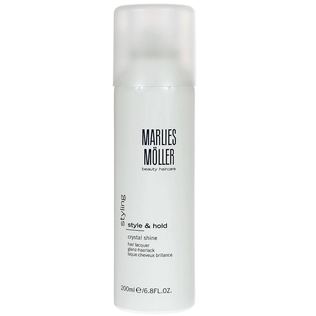 Marlies Moller Лак Styling для волос, кристальный блеск, 200 млБ33041_шампунь-барбарис и липа, скраб -черная смородинаЗавораживающее и изящное завершение укладки. Сухой лак обеспечивает превосходную фиксацию, благодаря мелкодисперсному аэрозолю быстро сохнет и чётко фиксирует. Ультра сильная фиксация без потери объема. Легко удаляется с волос. Профессиональный стайлинг для сияющего блеска волос. В составе - хрустальная пудра, которая дает искрящийся блеск, отражает свет и придает прическе ультра глянцевое сияние. Лак защищает волосы от влажного воздуха. UV-защита.Завершая укладку, нанесите лак, держа флакон на расстоянии 20-30 см.