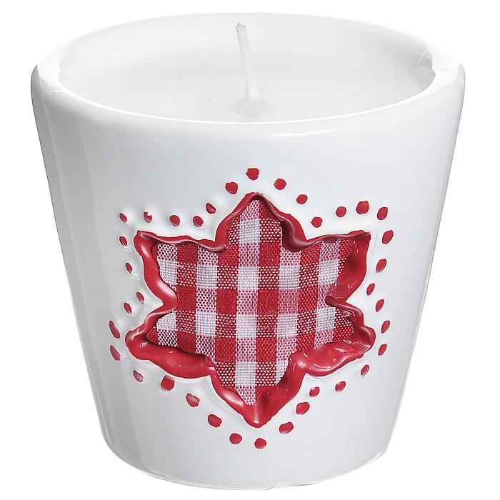 Декоративный подсвечник Цветок, со свечой, цвет: белый, красный. 2678826788Декоративный подсвечник изготовлен из керамики и украшен текстильной клетчатой вставкой в форме цветка. Оригинальный дизайн и красочное исполнение создадут романтическое настроение. С таким украшением вы сможете не просто внести в интерьер своего дома элемент необычности, но и создать атмосферу загадочности и изысканности. Характеристики: Материал: керамика, текстиль, воск. Цвет: белый, красный. Диаметр подсвечника: 7 см. Высота подсвечника: 7 см. Артикул: 26788.