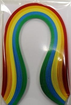 Набор бумаги для квиллинга, основные цвета, полоски 0,3 х 30 см, 5 цветов, 100 штAH8105006Квиллинг - искусство изготовления плоских или объемных композиций из скрученных в спиральки длинных и узких полосок бумаги. Из бумажных спиралей создают цветы и узоры, которые затем используют обычно для украшения открыток, альбомов, подарочных упаковок, рамок для фотографий. Это простой и очень красивый вид рукоделия, не требующий больших затрат. Изделия из бумажных лент можно использовать также как настенные украшения или даже бижутерию. Характеристики: Материал: бумага. Цвет: красный, оранжевый, желтый, синий, зеленый. Количество в упаковке: 100 шт. Размер 1 полоски: 0,3 см х 30 см. Размер упаковки: 15 см х 10 см х 0,5 см.