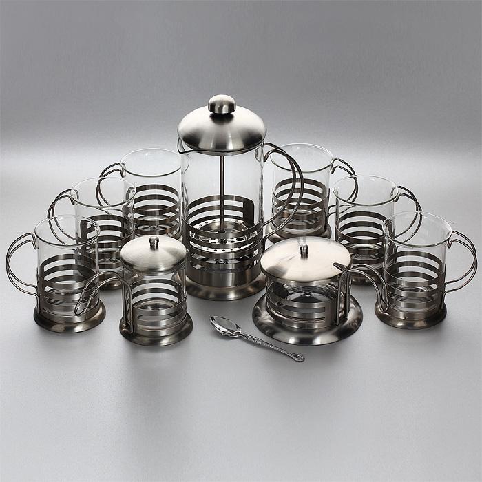 Набор кофейный Yideli, 9 предметовBY-23-9В набор Yideli входит френч-пресс, 6 кружек, сахарница с ложкой и молочник. Предметы набора изготовлены из высокотехнологичных материалов на современном оборудовании. Корпус изделий выполнен из высококачественной нержавеющей стали, колба - из термостойкого стекла. Материалы устойчивы к деформации и микротрещинам. Все предметы набора оснащены удобными ручками. Металлический фильтр-поршень френч-пресса выполнен по технологии press-up для обеспечения равномерной циркуляции воды. Фильтр задерживает чайные листочки и частички зерен кофе. Ручка ложечки украшена фигурной штамповкой. Френч-пресс позволит быстро и просто приготовить свежий и ароматный кофе или чай. Кружки, сахарница и молочник всегда будут полезны и востребованы на вашей кухне. Практичный и стильный дизайн полностью соответствует последним модным тенденциям в создании предметов кухонной посуды. Можно мыть в посудомоечной машине. Не использовать чистящие и дезинфицирующие средства, содержащие хлор. Не...