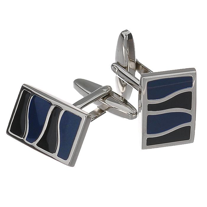 """Запонки """"S.Quire"""", цвет: серебристый, черный, синий. 11-7711"""