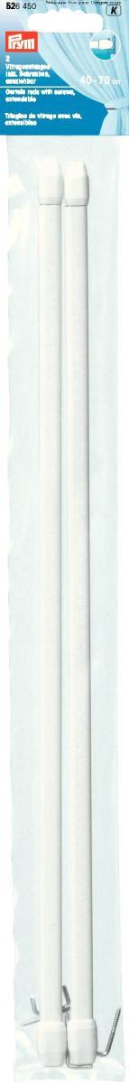 Штанги для витражей и окон Prym, телескопические, длина 40-70 см, 2 шт526450Длина варьируется по ширине окна, что очень удобно и функционально. Идеальны для пластиковых и деревянных окон, когда нет возможности или желания занавешивать окно гардиной. В комплекте идут крючки с резьбой для крепления витражного карниза. Характеристики: Материал: металл, пластик. Длина: 40 см - 70 см. Количество в упаковке: 2 шт. Размер упаковки: 41 см х 5 см х 1 см.