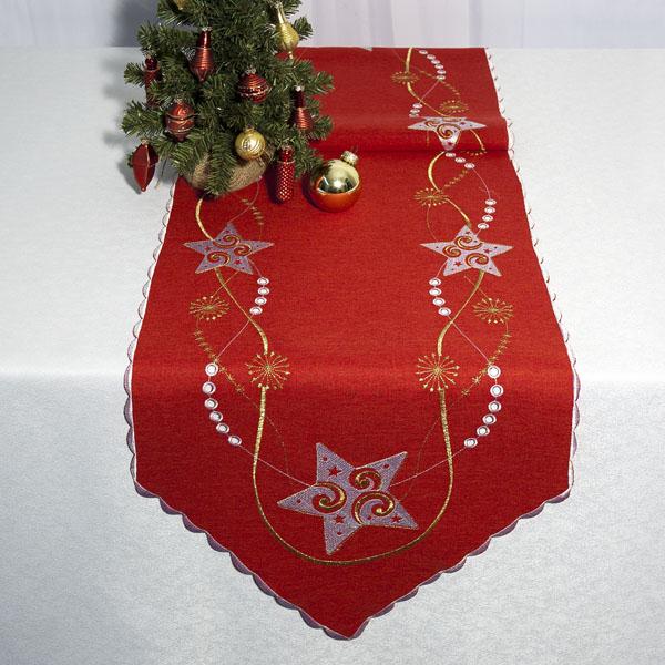 Дорожка для декорирования стола Schaefer, цвет: красный, 40 x 140 см 07308-23207308-232Очень нарядная дорожка Schaefer выполнена из высококачественного полиэстера. Большой объем сложной вышивки делает ее отличительной от всей остальной коллекции. Узоры вышиты шелком в красно-золотой гамме. Вы можете использовать дорожку для декорирования стола, комода или журнального столика. Это изделие будет украшением вашей квартиры или загородного дома! Благодаря такой дорожке вы защитите поверхность мебели от воды, пятен и механических воздействий, а также создадите атмосферу уюта и домашнего тепла в интерьере вашей квартиры. Изделия из искусственных волокон легко стирать: они не мнутся, не садятся и быстро сохнут, они более долговечны, чем изделия из натуральных волокон.