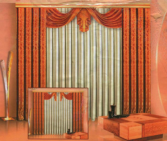Комплект штор Zlata Korunka, на ленте, цвет: золотисто-бежевый, высота 250 см. Б011Б011 бежевыйКомплект штор Zlata Korunka, выполненный из полиэстера, великолепно украсит любое окно. Комплект состоит из двух штор, тюля из белой вуали и ламбрекена. Шторы и ламбрекен выполнены из плотной золотисто-бежевой ткани с жаккардовым рисунком. Воздушная текстура, оригинальный дизайн и нежная цветовая гамма привлекут к себе внимание и органично впишутся в интерьер комнаты. Все предметы комплекта - на шторной ленте для собирания в сборки. Характеристики: Материал: 100% полиэстер. Цвет: золотисто-бежевый. Размер упаковки: 42 см х 29 см х 7 см. Артикул: Б011. В комплект входят: Штора - 2 шт. Размер (Ш х В): 140 см х 250 см. Тюль - 1 шт. Размер (Ш х В): 500 см х 250 см. Ламбрекен - 1 шт. Размер (Ш х В): 90 см х 45 см. УВАЖАЕМЫЕ КЛИЕНТЫ! Обращаем ваше внимание на цвет изделия. Цветовой вариант комплекта, данного в интерьере, служит для визуального восприятия товара. Цветовая гамма данного...