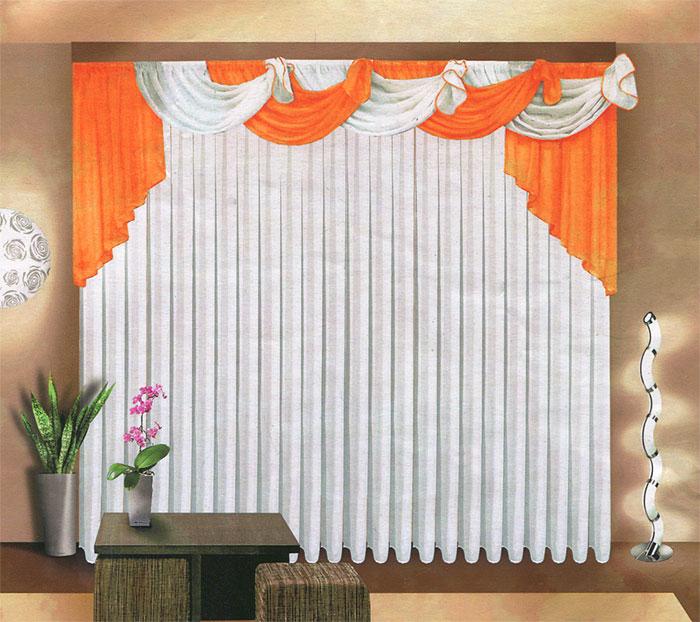 Комплект штор Zlata Korunka, на ленте, цвет: белый, оранжевый, высота 250 см10503Комплект штор Zlata Korunka великолепно украсит любое окно. Комплект состоит из белого тюля и оранжевого ламбрекена. Предметы комплекта выполнены из вуалевой ткани.Оригинальный дизайн и контрастная цветовая гамма привлекут к себе внимание и органично впишутся в интерьер комнаты. Все предметы комплекта оснащены шторной лентой для собирания в сборки. Характеристики:Материал: 100% полиэстер. Цвет: белый, оранжевый. Размер упаковки: 32 см х 36 см х 8 см. Артикул: Б067. В комплект входит: Тюль - 1 шт. Размер (ШхВ): 500 см х 250 см. Ламбрекен - 1 шт. Размер (ШхВ): 720 см х 100 см.