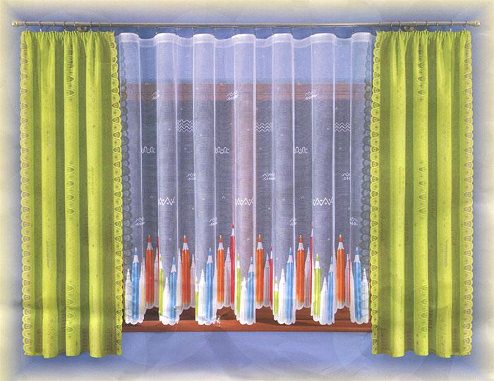 Комплект штор Wisan Kredki, на ленте, цвет: салатовый, высота 190 смW005 салатовыйКомплект штор Wisan Kredki, выполненный из полиэстера, великолепно украсит любое окно. Комплект состоит из двух штор и тюля. Шторы выполнены из полупрозрачной ткани салатового цвета и декорированы оригинальными узорами. Белый тюль с фигурными краями декорирован ярким принтом в виде цветных карандашей. Тонкое плетение, оригинальный дизайн и нежная цветовая гамма привлекут к себе внимание и органично впишутся в интерьер комнаты. Все предметы комплекта - на шторной ленте для собирания в сборки. Характеристики: Материал: 100% полиэстер. Цвет: салатовый. Размер упаковки: 35 см х 25 см х 8 см. Артикул: W005. В комплект входят: Штора - 2 шт. Размер (Ш х В): 120 см х 190 см. Тюль - 1 шт. Размер (Ш х В): 300 см х 170 см. Фирма Wisan на польском рынке существует уже более пятидесяти лет и является одной из лучших польских фабрик по производству штор и тканей. Ассортимент фирмы представлен готовыми комплектами штор для...