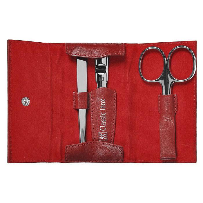 Zwilling Маникюрный набор Inox, цвет: красный, 3 предмета. 97434-00397434-003Маникюрный набор Zwilling Twinox, состоит из 3 предметов: ножниц для ногтей и кутикулы, пилочки для ногтей, скошенного пинцета. Инструменты изготовлены из высококачественной нержавеющей стали и хранятся в футляре красного цвета из натуральной кожи, закрывающемся небольшим клапаном на металлической кнопке. Уход: Инструменты предохранять от падения на пол. Время от времени смазывать чистым маслом область соединения, винт, внутреннюю часть и режущие кромки кусачек и ножниц. Использовать только по назначению! Затачивать инструменты у специалиста. Хранить в недоступном для детей месте. Характеристики: Материал: нержавеющая сталь. Общая длина пилочки: 9 см. Длина пилящей поверхности: 4,5 см. Длина пинцета: 9 см. Длина ножниц: 9,5 см. Материал футляра: натуральная кожа. Размер футляра (ДШВ): 10 см х 5,7 см х 2 см. Размер упаковки (ДШВ): 12,8 см х 8,3 см х 3 см. ...