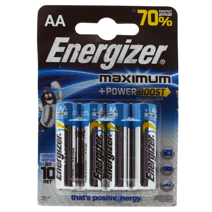 Батарейка алкалиновая Energizer Maximum, тип АА, 4 шт637452/635201/636177/629755Батарейки Energizer Maximum с технологией PowerBoost - самые долговечные батарейки в семействе щелочных батареек Energizer. Они работают до 70% дольше, чем стандартные щелочные батарейки типоразмера AA, идеальны для часто используемых устройств. Батарейки Energizer Maximum с технологией PowerBoost сохраняют заряд до 10 лет. Характеристики: Тип элемента питания: алкалиновая. Выходное напряжение: 1,5 В. Размер батарейки: 1,5 см х 1,5 см х 5 см. Размер упаковки: 8 см х 11,5 см х 1,5 см.
