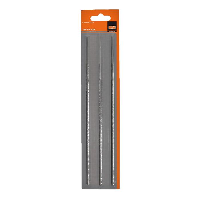 Набор напильников для заточки цепей Bahco, 200 мм х 4 мм, 3 шт168-8-4.0-3PНабор круглых напильников Bahco используется для заточки режущих зубьев пильных цепей.