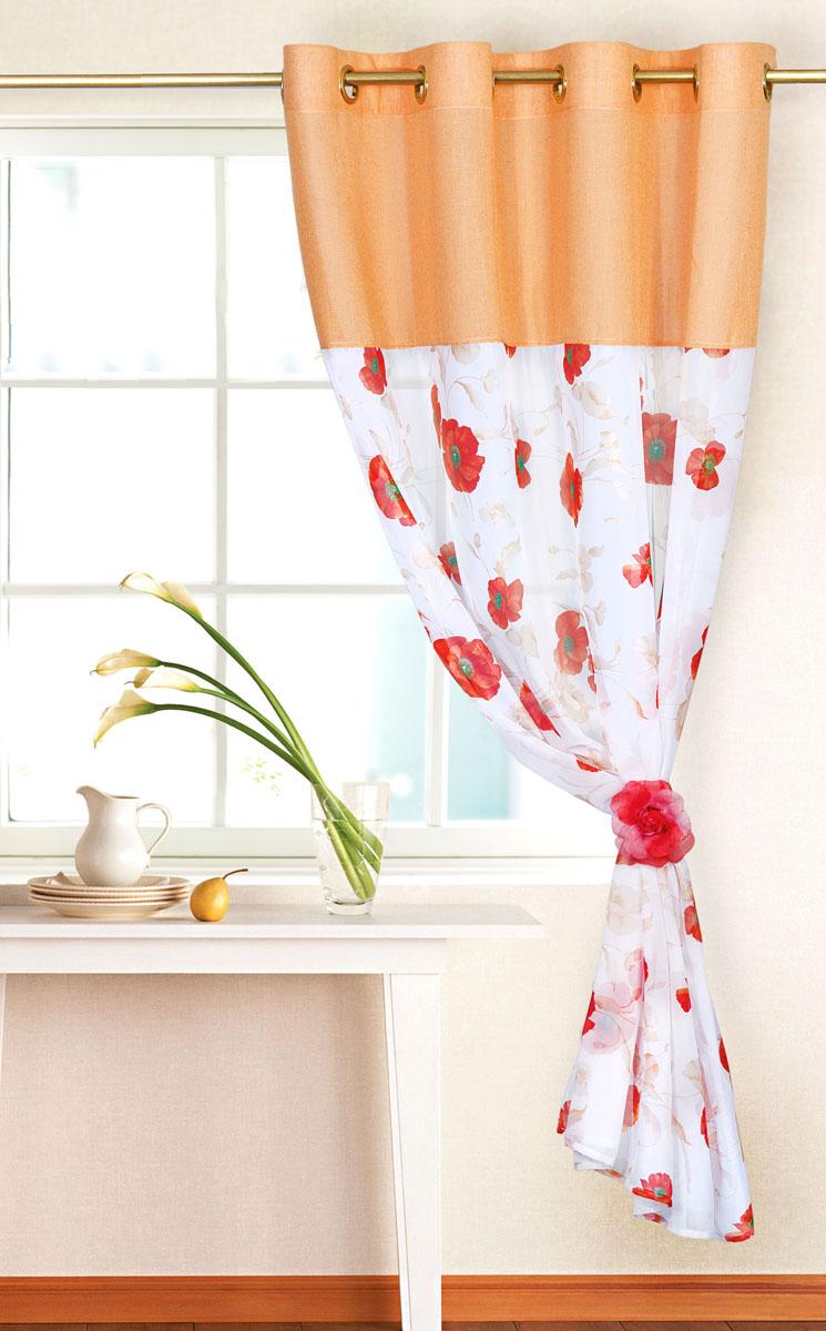 Штора готовая для кухни Garden, на кольцах, цвет: персиковый, размер 150*180 см. С 10213 - W191 - W1222 V2С 10213 - W191 - W1222 V2Элегантная тюлевая штора Garden выполнена из вуали (полиэстера). Сочетание плотной и полупрозрачной ткани, приятная цветовая гамма, цветочный принт привлекут к себе внимание и органично впишутся в интерьер помещения. Такая штора идеально подходит для солнечных комнат. Мягко рассеивая прямые лучи, она хорошо пропускает дневной свет и защищает от посторонних глаз. Отличное решение для многослойного оформления окон. Эта штора будет долгое время радовать вас и вашу семью! Штора крепится на карниз при помощи металлических колец, которые помогут красиво и равномерно задрапировать верх.