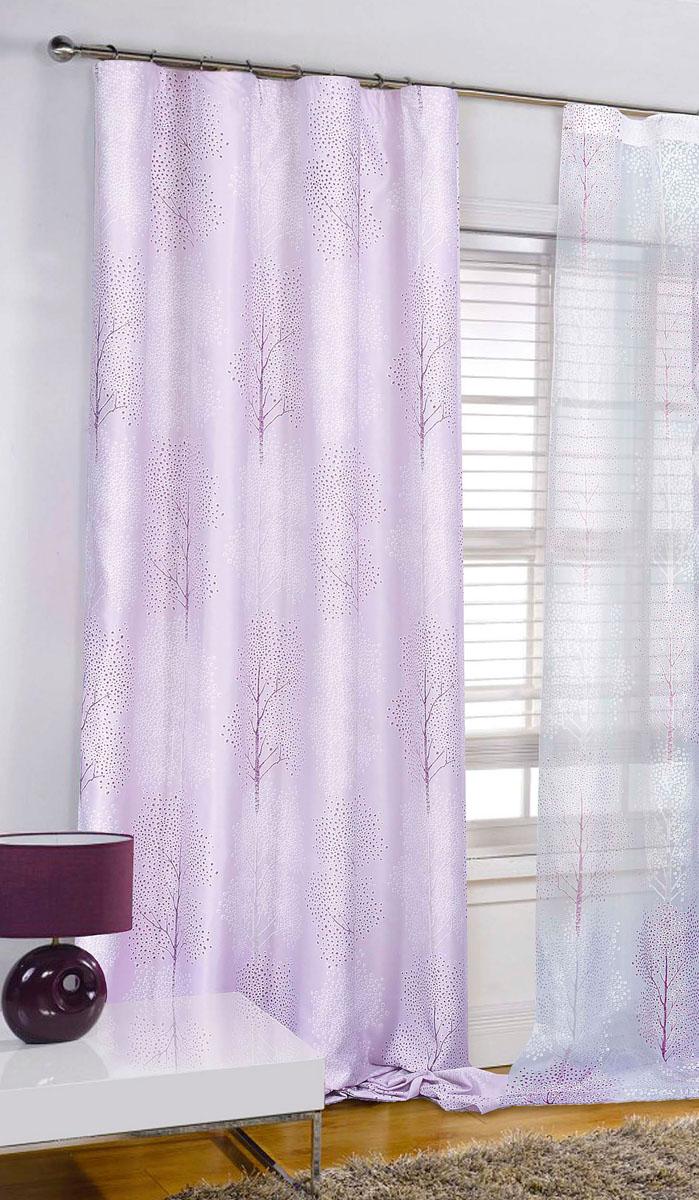Штора готовая для гостиной Garden, на ленте, цвет: сиреневый, размер 200* 280 см. С 4232 - W1223 V14С 4232 - W1223 V14Штора портьерная для гостиной Garden выполнена из плотного сатина (полиэстера) и украшена узором в виде деревьев. Легкая текстура материала и нежная цветовая гамма привлекут к себе внимание и органично впишутся в интерьер помещения. Изделие оснащено шторной лентой для красивой сборки. Штора Garden великолепно украсит любое окно.