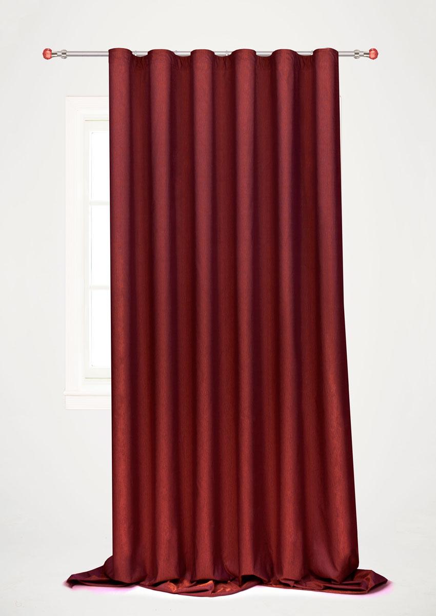 Штора готовая для гостиной Garden, на ленте, цвет: бордовый, 200 х 260 см. С 536097 V10810503Готовая портьерная штора для гостиной Garden выполнена из 100% полиэстера. Богатая текстура материала и изысканная цветовая гамма привлекут к себе внимание и органично впишутся в интерьер помещения. Изделие оснащено шторной лентой для красивой сборки. Штора Garden великолепно украсит любое окно.