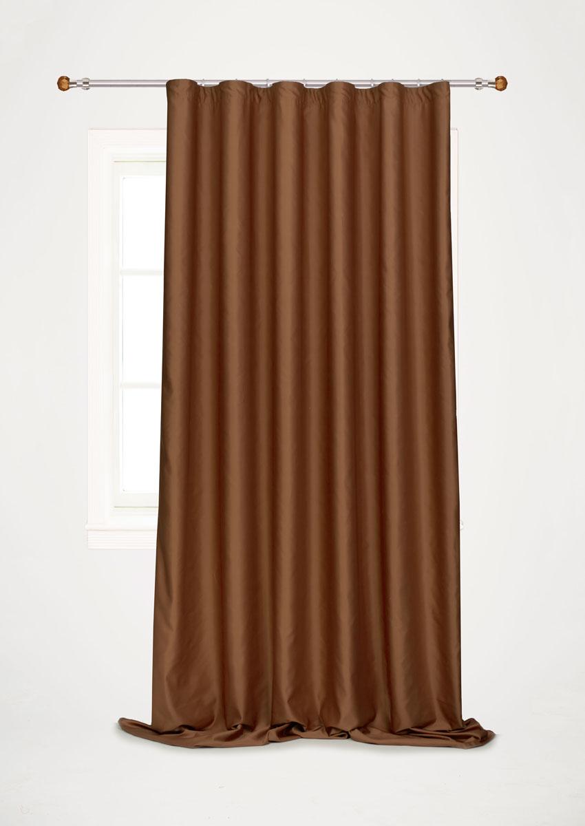 Штора для гостиной Garden, на ленте, цвет: коричневый, размер 200*260 см. С W1223 V78067С W1223 V78067Роскошная штора-портьера Garden выполнена из сатина (100% полиэстера). Материал плотный и мягкий на ощупь. Оригинальная текстура ткани и нежный цвет привлекут к себе внимание и органично впишутся в интерьер помещения. Эта штора будет долгое время радовать вас и вашу семью! Штора крепится на карниз при помощи ленты, которая поможет красиво и равномерно задрапировать верх. Стирка при температуре 30°С.