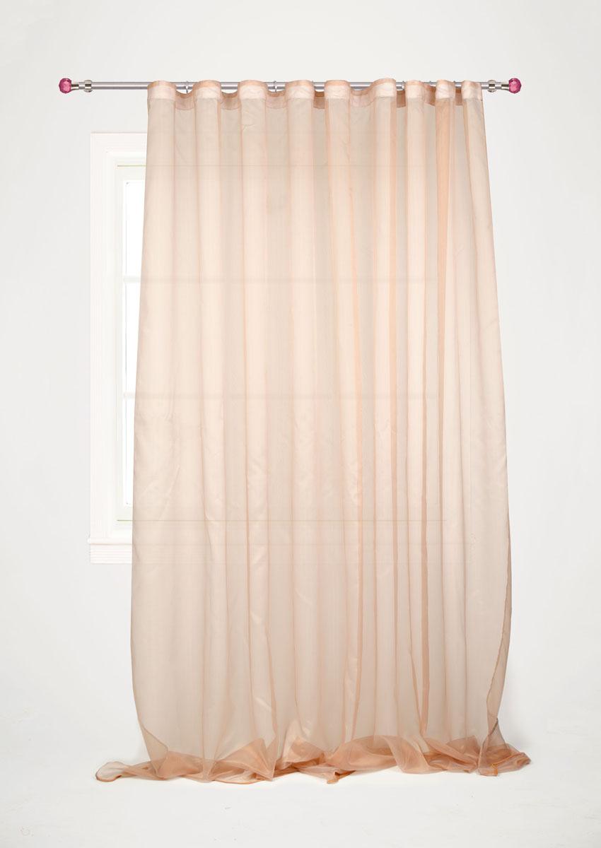 Штора готовая для гостиной Garden, на ленте, цвет: коричневый, размер 300*260 см. С W1741 V5С W1741 V5Изящная тюлевая штора Garden выполнена из структурной органзы (полиэстера). Полупрозрачная ткань, приятный цвет привлекут к себе внимание и органично впишутся в интерьер помещения. Такая штора идеально подходит для солнечных комнат. Мягко рассеивая прямые лучи, она хорошо пропускает дневной свет и защищает от посторонних глаз. Отличное решение для многослойного оформления окон. Эта штора будет долгое время радовать вас и вашу семью! Штора крепится на карниз при помощи ленты, которая поможет красиво и равномерно задрапировать верх.