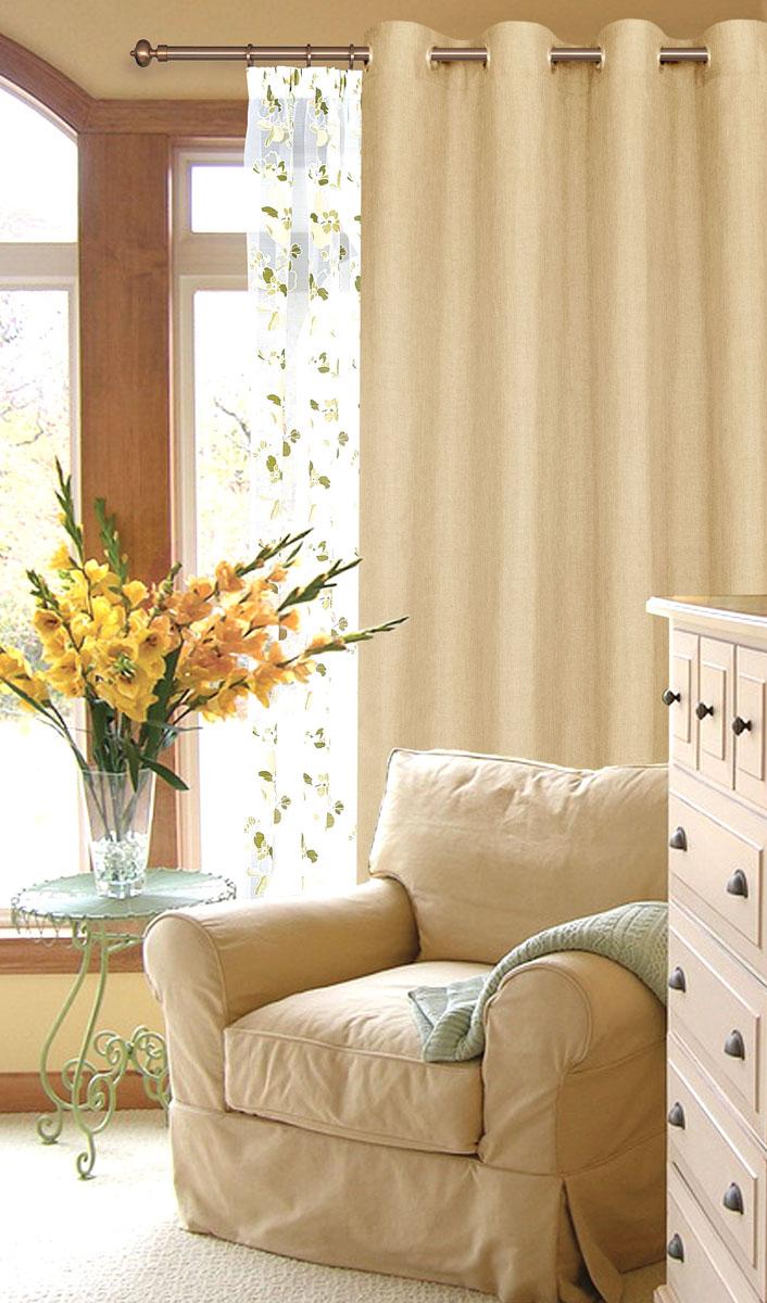 Штора готовая для гостиной Garden, на люверсах, цвет: сливочный, размер 200*260 см. С W1884 V7117810503Готовая штора-портера Garden, выполненная из ткани рогожка (плотного полиэстера крупного плетения), привлечет к себе внимание и органично впишется в интерьер помещения. Изделие оснащено пластиковыми люверсами, для подвешивания на карниз-трубу, которые гармонично смотрятся и легко скользят по карнизу. Шторы на люверсах идеально подойдут для гостиной, а также для детской комнаты, так как ребенку вряд ли удастся ее сорвать.Штора Garden великолепно украсит любое окно.