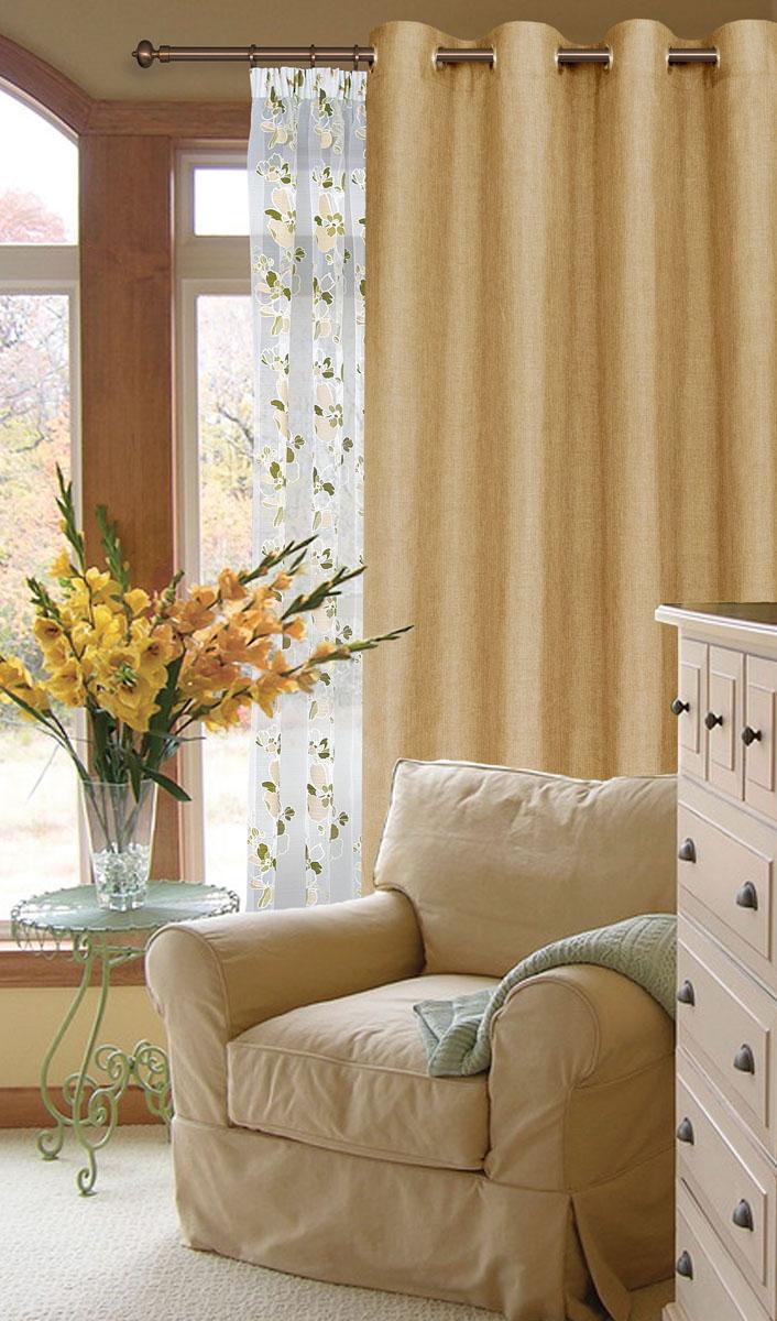 Штора готовая для гостиной Garden, на люверсах, цвет: светло-бежевый, размер 200*260 см. С W1884 V78075С W1884 V78075Готовая штора-портера Garden, выполненная из ткани рогожка (плотного полиэстера крупного плетения), привлечет к себе внимание и органично впишется в интерьер помещения. Изделие оснащено пластиковыми люверсами, для подвешивания на карниз-трубу, которые гармонично смотрятся и легко скользят по карнизу. Шторы на люверсах идеально подойдут для гостиной, а также для детской комнаты, так как ребенку вряд ли удастся ее сорвать. Штора Garden великолепно украсит любое окно.