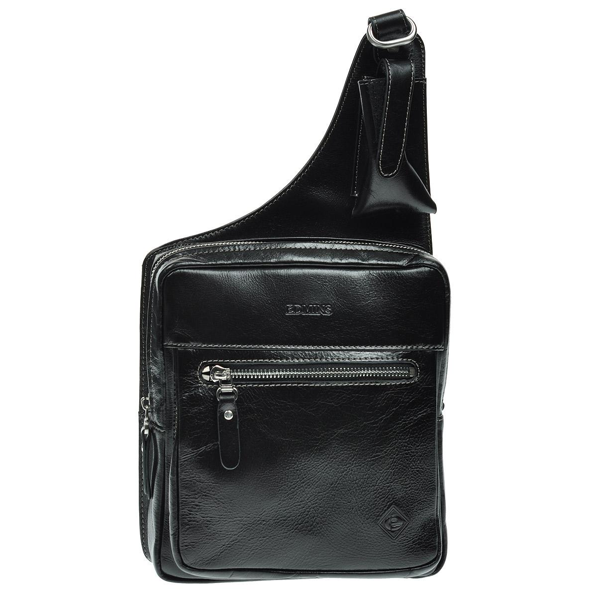 Сумка мужская Edmins, цвет: черный. 7005-1 Black7005-1 BlackМужская сумка Edmins выполнена из натуральной кожи черного цвета с глянцевой поверхностью. Сумка имеет одно основное отделение, закрывающееся на застежку-молнию. Внутри - вшитый карман на застежке-молнии. На лицевой стороне сумки расположен небольшой карман на застежке-молнии. На задней стенке сумки - дополнительный карман на застежке-молнии. Сумка также оснащена кармашком для мобильного телефона. Для удобства предусмотрена актуальная ручка-лента регулируемой длины. К сумке прилагается чехол для хранения. Характеристики: Материал: кожа натуральная, текстиль, металл. Цвет: черный. Размер сумки: 20 см х 38 см х 9 см. Артикул: 7005-1 Black.
