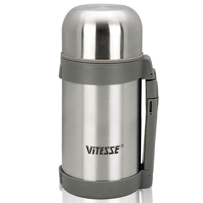 Термос Vitesse, 1 л. VS-8341115510Термос Vitesse выполнен из высококачественной нержавеющей стали 18/10 с матовой полировкой. Термос имеет вакуумную изоляцию, которая на сегодняшний день является самым эффективным способом сохранения напитков как горячими, так и холодными. Вы сможете приготовить чай и кофе непосредственно в термосе. Термос оснащен крышкой-чашкой и дополнительной пластиковой чашкой. Пробка легко фиксируется. Легкий и удобный, он станет незаменимым спутником в ваших поездках, а ручка облегчит переноску. Термос можно мыть в посудомоечной машине. Характеристики: Материал: нержавеющая сталь 18/10, пластик. Объем: 1 л. Размер (с учетом крышки): 11 см х 11 см х 26 см. Размер упаковки: 11,5 см х 11,5 см х 26,5 см.Изготовитель: Китай. Артикул: VS-8341. Кухонная посуда марки Vitesse из нержавеющей стали 18/10 предоставит Вам все необходимое для получения удовольствия от приготовления пищи и принесет радость от его результатов. Посуда Vitesse обладает выдающимися функциональными свойствами. Легкие в уходе кастрюли и сковородки имеют плотно закрывающиеся крышки, которые дают возможность готовить с малым количеством воды и экономией энергии, и идеально подходят для всех видов плит: газовых, электрических, стеклокерамических и индукционных. Конструкция дна посуды гарантирует быстрое поглощение тепла, его равномерное распределение и сохранение. Великолепно отполированная поверхность, а также многочисленные конструктивные новшества, заложенные во все изделия Vitesse, позволит Вам открыть новые горизонты приготовления уже знакомых блюд. Для производства посуды Vitesse используются только высококачественные материалы, которые соответствуют международным стандартам.