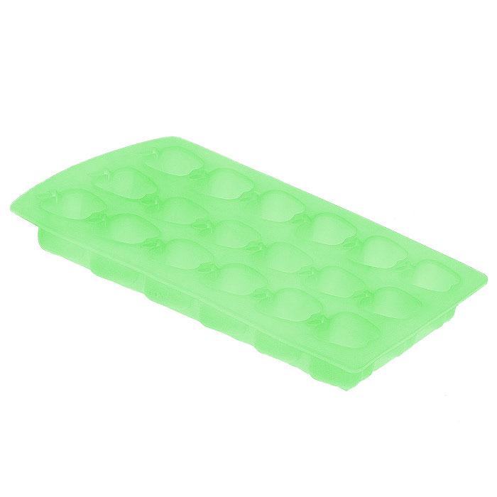 Форма для льда Яблоко, цвет: салатовый, 18 ячеекVT-1520(SR)Форма для льда Яблоко выполнена из силикона. На одном листе расположено 18 ячеек в виде фигурок яблока. Благодаря тому, что формочки изготовлены из силикона, готовый лед вынимать легко и просто. Чтобы достать льдинки, эту форму не нужно держать под теплой водой или использовать нож.Теперь на смену традиционным квадратным пришли новые оригинальные формы для приготовления фигурного льда, которыми можно не только охладить, но и украсить любой напиток. В формочки при заморозке воды можно помещать ягодки, такие льдинки не только оживят коктейль, но и добавят радостного настроения гостям на празднике! Характеристики:Размер общей формы:11,5 см х 23 см х 2,5 см. Размер формочки: 2,5 см х 2,5 см х 2,2 см. Материал: силикон. Цвет: салатовый. Производитель: Италия. Артикул:253527.