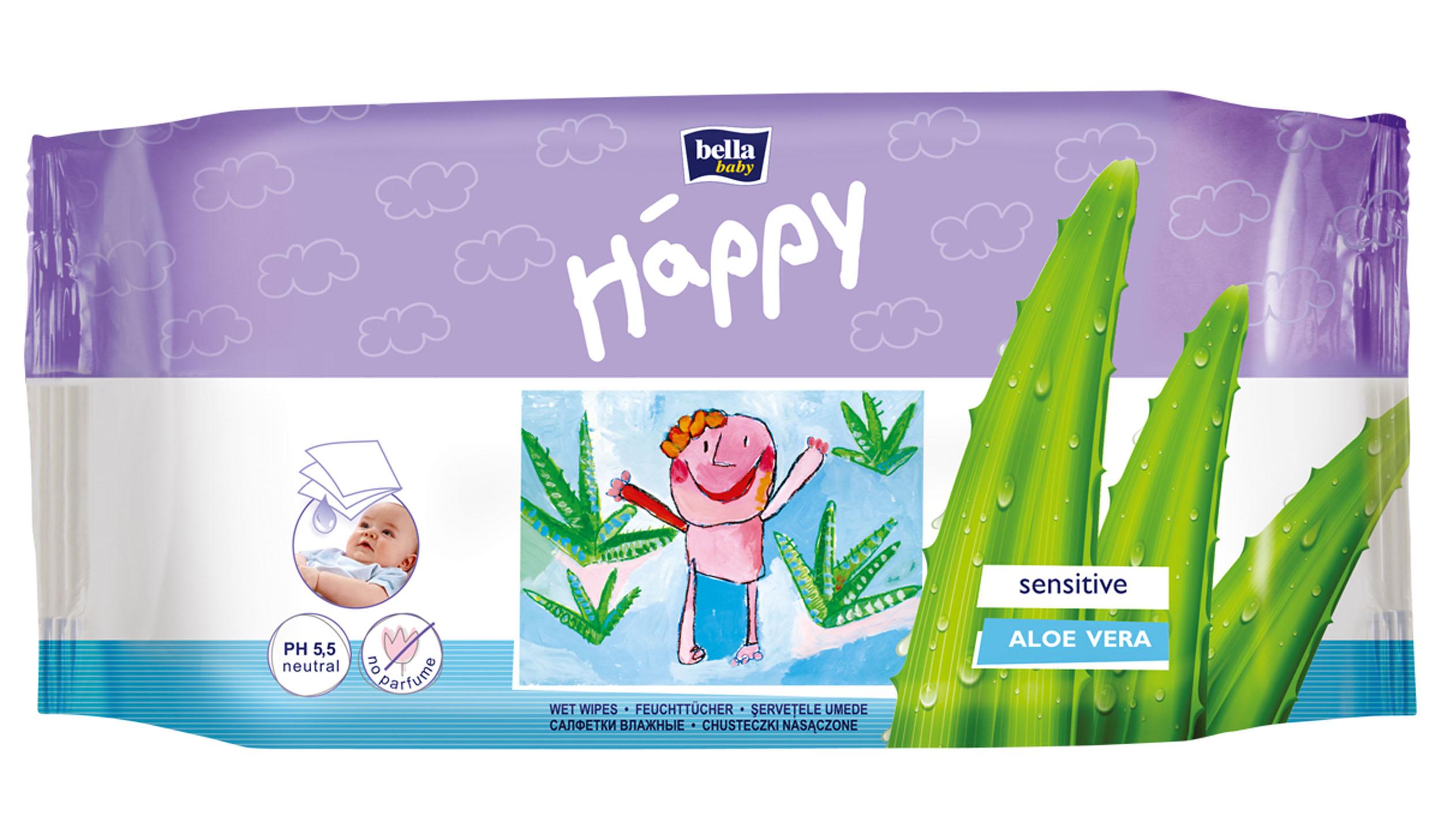 """Bella baby Happy Bella Влажные салфетки Baby Happy """"Алое Вера"""", 56 шт BB-062-WS56-002"""