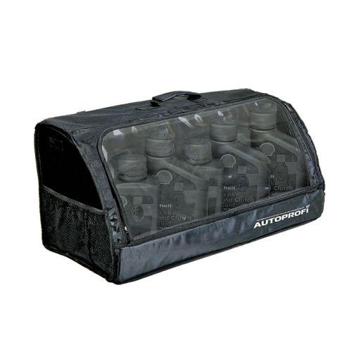 Сумка-органайзер в багажник Autoprofi Travel, брезентовая, цвет: черный. ORG-35 BKORG-35 BKСумка-органайзер в багажник Autoprofi Travel изготовлена из огнеупорного водостойкого брезента. Он устойчив к механическим повреждениям и легко чистится. Натуральные материалы изделия не линяют и химически не активны, поэтому в сумке можно перевозить продукты и даже домашних животных. Органайзер предназначен для хранения и транспортировки в багажнике автомобиля инструментов, средств автохимии и автокосметики, автомобильных аксессуаров и прочей поклажи. В ней удобно и практично перевозить различные предметы, сохраняя в багажном отделении чистоту и порядок. Передняя стенка оснащена прозрачным клапаном. Для удобства переноски сумка оснащена ручкой. Полосы-липучки, расположенные на тыльной стороне и днище органайзера, не дают ему скользить по поверхности и надежно фиксируют сумку в багажнике. Характеристики: Материал: брезент. Цвет: черный. Размер сумки-органайзера: 70 см х 32 см х 30 см. Размер упаковки: 70 см х 6 см х 32 см. Артикул: ORG-35...