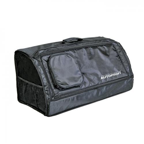 Сумка-органайзер в багажник Autoprofi Travel, брезентовая, цвет: черный. ORG-30 BKORG-30 BKСумка-органайзер в багажник Autoprofi Travel изготовлена из огнеупорного водостойкого брезента. Он устойчив к механическим повреждениям и легко чистится. Натуральные материалы изделия не линяют и химически не активны, поэтому в сумке можно перевозить продукты и даже домашних животных. Органайзер предназначен для хранения и транспортировки в багажнике автомобиля инструментов, средств автохимии и автокосметики, автомобильных аксессуаров и прочей поклажи. Сумка оснащена несколькими отсеками и карманами, поэтому в ней очень удобно и практично перевозить различные предметы, сохраняя в багажном отделении чистоту и порядок. Для удобства переноски сумка имеет ручку. Полосы-липучки, расположенные на тыльной стороне и днище органайзера, не дают ему скользить по поверхности и надежно фиксируют сумку в багажнике. Характеристики: Материал: брезент. Цвет: черный. Размер сумки-органайзера: 70 см х 32 см х 30 см. Размер упаковки: 6 см х 32 см х 70 см. ...