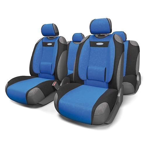 Чехлы-майки Autoprofi Comfort, велюр, цвет: черный, синий, 9 предметов. COM-905T BK/BLVT-1520(SR)Чехлы-майки Autoprofi Comfort разработаны с учетом анатомических особенностей человека. Чехлы оснащены объемной боковой поддержкой спины и поясничным упором, которые способствуют наиболее удобной осанке водителя и переднего пассажира и снижают усталость от многочасовых поездок. По форме чехлы напоминают майку. Благодаря этому они быстро и без усилий надеваются на кресла без демонтажа подголовников или подлокотников. Чехлы изготавливаются из велюра. Эластичный материал позволяет использовать майки на любых типах сидений.Комплектация: - 1 сиденье заднего ряда, - 1 спинка заднего ряда, - 2 чехла переднего ряда, - 5 подголовников, - набор фиксирующих крючков.Особенности: Использование с любыми типами сиденийБоковая поддержка спиныТолщина поролона - 5 мм