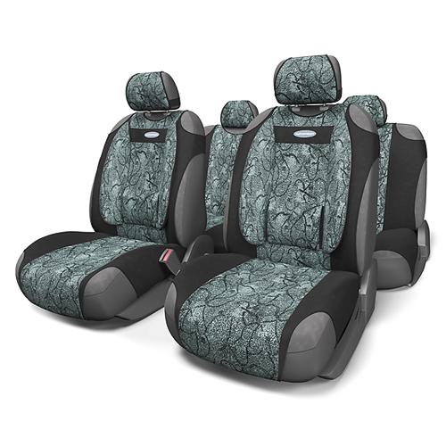 Чехлы-майки Autoprofi Comfort, велюр, цвет: циклон, 9 предметов. COM-905T CycloneCOM-905T CycloneЧехлы-майки Autoprofi Comfort разработаны с учетом анатомических особенностей человека. Чехлы оснащены объемной боковой поддержкой спины и поясничным упором, которые способствуют наиболее удобной осанке водителя и переднего пассажира и снижают усталость от многочасовых поездок. По форме чехлы напоминают майку. Благодаря этому они быстро и без усилий надеваются на кресла без демонтажа подголовников или подлокотников. Чехлы изготавливаются из велюра. Эластичный материал позволяет использовать майки на любых типах сидений. Комплектация: - 1 сиденье заднего ряда, - 1 спинка заднего ряда, - 2 чехла переднего ряда, - 5 подголовников, - набор фиксирующих крючков. Особенности: Использование с любыми типами сидений Боковая поддержка спины Толщина поролона - 5 мм