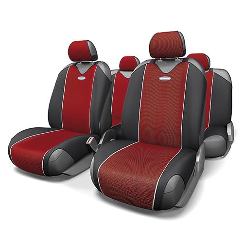 Чехлы-майки Autoprofi Carbon, полиэстер под карбон, цвет: красный, 9 предметов. CRB-802 RDVT-1520(SR)Autoprofi Carbon - наиболее респектабельная модель автомобильных чехлов-маек. Материал изделия повторяет переливающийся рисунок настоящего карбона и придает чехлам презентабельный и дорогой вид. Для автомобильного интерьера с карбоновыми элементами чехлы Carbon являются наиболее гармоничным дополнением. По форме чехлы напоминают майку. Благодаря этому они быстро и без усилий надеваются на кресла, не требуя демонтажа подголовников или подлокотников. Эластичный полиэстер изделий позволяет использовать их на любых типах сидений.Комплектация: - 1 сиденье заднего ряда, - 1 спинка заднего ряда, - 2 чехла переднего ряда, - 5 подголовников, - набор фиксирующих крючков.Особенности: Использование с любыми типами сиденийТолщина поролона - 2 ммПолиэстер с рисунком карбон