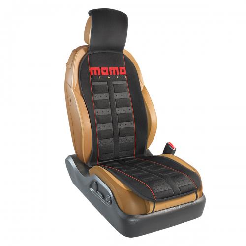 Накидка на переднее сиденье Momo Sport, полиэстер, цвет: черный, красный. MOMO-101 BK/RDMOMO-101 BK/RDНакидка на переднее сиденье Momo Sport изготовлена из высококачественного полиэстера и надежно защищает кресла от грязи и изнашивания. Благодаря универсальному крою накидку можно использовать на передних сиденьях большинства автомобилей, в том числе оснащенных боковыми подушками безопасности. Установка не занимает много времени - накидка крепится с помощью эластичных резинок с пластмассовым креплением и закрывает не только спинку и сиденье, но и подголовник кресла. Имеется возможность использования с любыми типами сидений. Стильная накидка на сиденье Momo Sport обладает не только ярким дизайном, но и эргономичным кроем. Вдоль центральной оси накидки расположены прямоугольные выступы, которые массируют ноги и спину, и снижают таким образом усталость от поездок.
