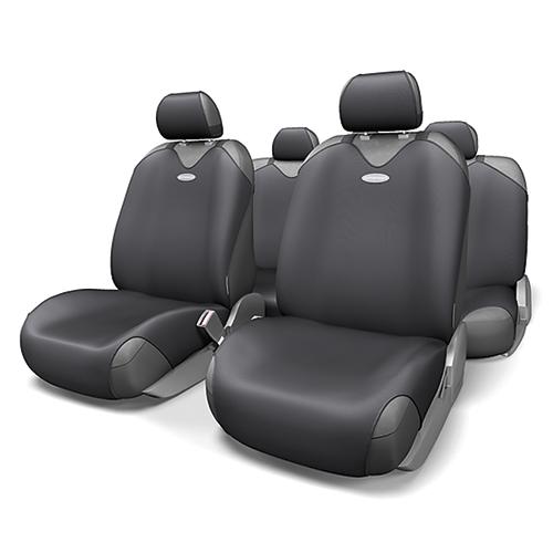 Чехлы-майки на сиденья Autoprofi R-1 Sport, полиэстер, цвет: черный, 9 предметов. R-802 BKR-802 BKЧехлы-майки на сиденья Autoprofi R-1 Sport выполнены из высококачественного полиэстера. Такая форма автомобильных чехлов позволяет без затруднений надевать их на кресла любого типа, не прибегая к демонтажу подголовников и подлокотников. Эластичный полиэстер маек плотно облегает поверхность кресел, не выцветает на солнце и не электризуется. Чехлы-майки на сиденья Autoprofi R-1 Sport выполнены в спортивном стиле, который придает салону яркие и динамичные черты. Широкая гамма расцветок чехлов позволяет подобрать их к любому интерьеру автомобиля. Имеется возможность использования с любыми типами сидений. Комплектация: - 1 сиденье заднего ряда, - 1 спинка заднего ряда, - 2 чехла переднего ряда, - 5 подголовников, - набор фиксирующих крючков. Особенности: Использование с любыми типами сидений Толщина поролона - 2 мм