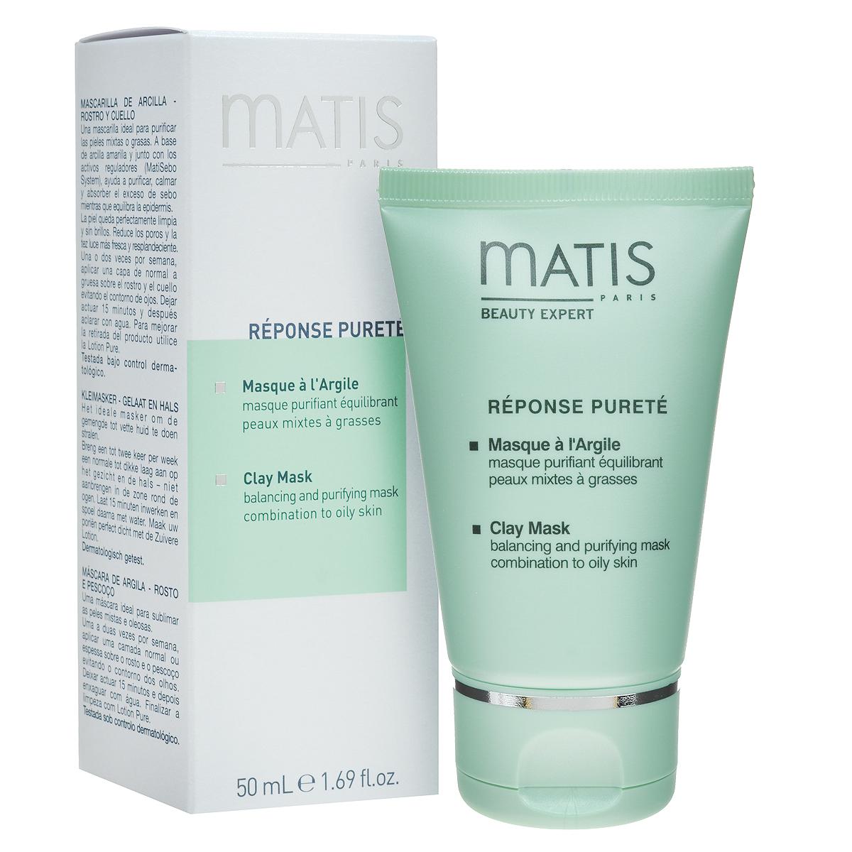 Matis Маска для лица Линия жирной кожи, очищающая, балансирующая, 50 млFS-00897Кремовая маска с желтой глиной. Регулирует деятельность сальных желез. Тщательно очищает и дезинфицирует кожу. Оказывает успокаивающее и противовоспалительное действие. Глубоко очищает поры, тонизирует кожу, насыщает ее кислородом. Выводит токсины.MatiSebo инновационная система (сочетание особых кислот с экстрактом африканского дерева Энантия Хлоранта), Желтая глина.Нанесите толстым слоем на лицо и шею, избегая области вокруг глаз, на 15 минут. Смойте маску теплой водой, затем протрите кожу ватным диском, пропитанным Лосьоном очищающим для жирной кожи.