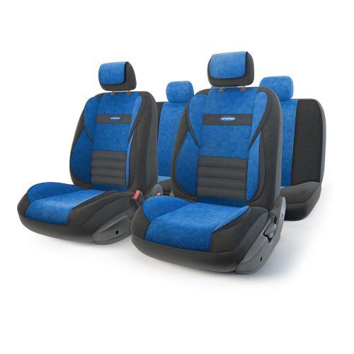 Набор ортопедических авточехлов Autoprofi Multi Comfort, велюр, цвет: черный, синий, 11 предметов. Размер MMLT-1105 BK/BL (M)Инновационная модель анатомических чехлов Multi Comfort. Объемные вставки изделий, расположенные на уровне поясницы, бедер и плечевого пояса, хорошо поддерживают тело водителя и пассажира при маневрах на дороге. В чехлы также вшит ребристый поясничный упор. Его ортопедическая форма снимает нагрузку с межпозвоночных дисков и способствует снижению усталости от многочасового вождения. Кроме этого, чехлы на подголовники оснащены мягким выступом, который поддерживает голову и уменьшает давление на затылок. В качестве внешнего материала используется сочетание плотного и перфорированного велюра. Велюр обладает привлекательным внешним видом и хорошими вентиляционными свойствами, а также очень приятен на ощупь. Основные особенности авточехлов Multi Comfort: - поддержка плечевого пояса; - боковая поддержка спины; - боковая поддержка ног; - ортопедический поясничный упор; - мягкая вставка на подголовнике; - крепление передних...