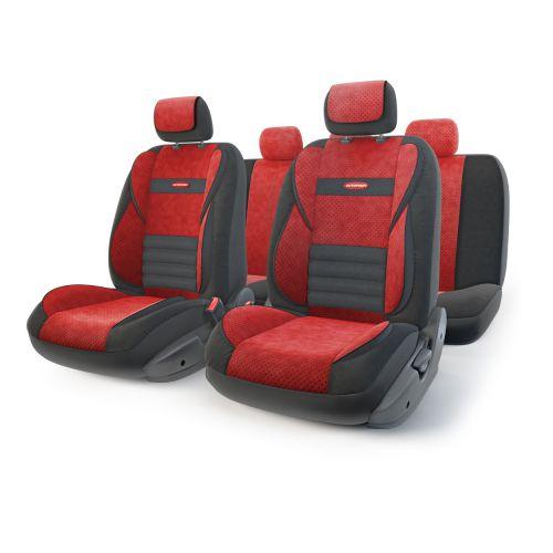 Набор ортопедических авточехлов Autoprofi Multi Comfort, велюр, цвет: черный, красный, 11 предметов. Размер MMLT-1105 BK/RD (M)Инновационная модель анатомических чехлов Multi Comfort. Объемные вставки изделий, расположенные на уровне поясницы, бедер и плечевого пояса, хорошо поддерживают тело водителя и пассажира при маневрах на дороге. В чехлы также вшит ребристый поясничный упор. Его ортопедическая форма снимает нагрузку с межпозвоночных дисков и способствует снижению усталости от многочасового вождения. Кроме этого, чехлы на подголовники оснащены мягким выступом, который поддерживает голову и уменьшает давление на затылок. В качестве внешнего материала используется сочетание плотного и перфорированного велюра. Велюр обладает привлекательным внешним видом и хорошими вентиляционными свойствами, а также очень приятен на ощупь. Основные особенности авточехлов Multi Comfort: - поддержка плечевого пояса; - боковая поддержка спины; - боковая поддержка ног; - ортопедический поясничный упор; - мягкая вставка на подголовнике; - крепление передних...