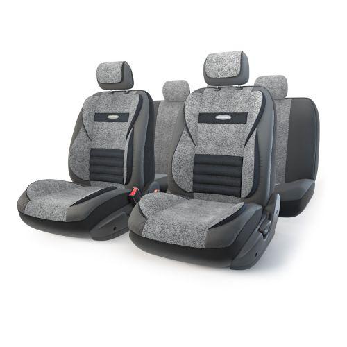 Набор ортопедических авточехлов Autoprofi Multi Comfort, экокожа, цвет: черный, серый, 11 предметов. Размер MMLT-1105GV BK/D.GY (M)Анатомические чехлы Multi Comfort отличаются объемными вставками, расположенными не только на уровне плеч и поясницы, но и в области бедер. Благодаря своей особой форме, вставки эффективно поддерживают тело водителя и пассажира в движении, снижая усталость от дороги. В чехлы переднего ряда также вшит рельефный поясничный упор. Его выпуклая форма способствует уменьшению нагрузки на межпозвоночные диски и делает более комфортными дальние поездки. Кроме этого, чехлы на подголовники оснащены мягким выступом, который поддерживает голову и снижает давление на затылочную часть. Чехлы изготавливаются из экокожи и текстурированного велюра различных цветов, которые обладают привлекательным внешним видом и не требуют больших усилий при уходе. Основные особенности авточехлов Multi Comfort: - поддержка плечевого пояса; - боковая поддержка спины; - боковая поддержка ног; - ортопедический поясничный упор; - мягкая вставка на подголовнике; -...