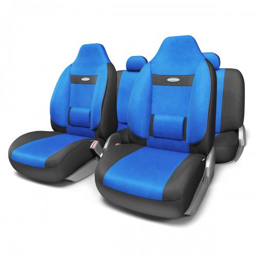 """Набор ортопедических авточехлов Autoprofi """"Comfort"""", для кресел с литыми подголовниками, велюр, цвет: черный, синий, 11 предметов."""