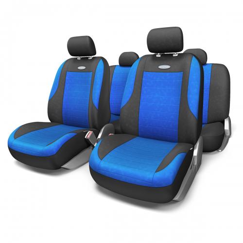Набор авточехлов Autoprofi Evolution, велюр, цвет: черный, синий, 11 предметов. Размер MEVO-1105 BK/BL (M)Классическая модель авточехлов Evolution выполнена в спортивном стиле, придающем салону автомобиля яркие и динамичные черты. Велюр, из которого изготавливаются чехлы, очень приятен на ощупь и обладает высокой износостойкостью. Материал не выцветает на солнце, не электризуется и имеет высокие грязеотталкивающие свойства. Велюр триплирован 5-миллиметровым слоем поролона, который помогает чехлам сохранять свою форму на протяжении всего срока службы. Благодаря триплированию чехлы плотно облегают сиденья, не скользят по их поверхности и не мнутся. Основные особенности авточехлов Evolution: - 3 молнии в спинке заднего ряда; - карманы в спинках передних сидений; - толщина поролона: 5 мм. Комплектация: - 1 сиденье заднего ряда; - 1 спинка заднего ряда; - 2 сиденья переднего ряда; - 2 спинки переднего ряда; - 5 подголовников; - набор фиксирующих крючков.