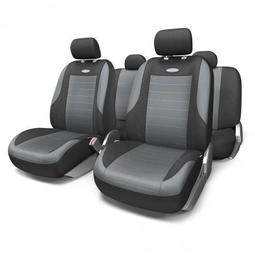 Набор авточехлов Autoprofi Evolution, велюр, цвет: черный, темно-серый, 11 предметов. Размер MEVO-1105 BK/D.GY (M)Классическая модель авточехлов Evolution выполнена в спортивном стиле, придающем салону автомобиля яркие и динамичные черты. Велюр, из которого изготавливаются чехлы, очень приятен на ощупь и обладает высокой износостойкостью. Материал не выцветает на солнце, не электризуется и имеет высокие грязеотталкивающие свойства. Велюр триплирован 5-миллиметровым слоем поролона, который помогает чехлам сохранять свою форму на протяжении всего срока службы. Благодаря триплированию чехлы плотно облегают сиденья, не скользят по их поверхности и не мнутся. Основные особенности авточехлов Evolution: - 3 молнии в спинке заднего ряда; - карманы в спинках передних сидений; - толщина поролона: 5 мм. Комплектация: - 1 сиденье заднего ряда; - 1 спинка заднего ряда; - 2 сиденья переднего ряда; - 2 спинки переднего ряда; - 5 подголовников; - набор фиксирующих крючков.