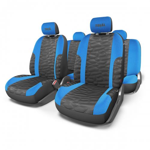 Набор авточехлов Autoprofi Trial, цвет: черный, синий, 11 предметов. Размер MTRL-1105 BK/BL (M)В качестве материала чехлов используется износостойкая алькантара и сетчатая ткань, визуально имитирующая кожу. Объемная псевдо-кожа отличается высокими дышащими свойствами и необычным внешним видом, который придает интерьеру салона спортивный и оригинальный облик. Автомобильные чехлы Trial разработаны специально для сидений, оборудованных боковыми подушками безопасности в спинках передних кресел. Чехлы сидений переднего ряда сбоку оснащены швом, который распускается при срабатывании airbag. Особенности: - Толщина поролона: 5 мм. - Карманы в спинках передних сидений. - 3 молнии в сиденье заднего ряда. - 3 молнии в спинке заднего ряда. - Предустановленные крючки на широких резинках. - Крепление передних спинок липучками. - Использование с боковыми airbag. - Материал: алькантара, объемная кожа (имитация под кожу). Комплектация: - 1 сиденье заднего ряда; - 1 спинка заднего ряда; - 2 спинки...