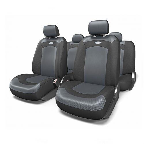 Набор авточехлов Autoprofi Extreme, велюр, цвет: черный, 8 предметов. Размер MXTR-803 BK/BK (M)Модель Extreme сделана по традиционной цельной схеме, без разделения на чехлы для спинки и сиденья. Благодаря этому она является наиболее доступной из серии классических автомобильных чехлов, не уступая в функциональности другим моделям. Чехлы Extreme обладают приятным двухцветным дизайном, который гармонично смотрится с любым автомобильным интерьером. В качестве материалов используются велюр и объемная сетчатая ткань. Ткань способствует улучшенной вентиляции кресел и позволяет сделать комфортными даже дальние поездки. Основные особенности авточехлов Extreme: - 3 молнии в спинке заднего ряда; - использование с боковыми airbag: нет; - толщина поролона: 3 мм. Комплектация: - 1 сиденье заднего ряда; - 1 спинка заднего ряда; - 2 чехла переднего ряда; - 4 подголовника; - набор фиксирующих крючков.