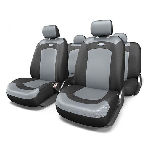Набор авточехлов Autoprofi Extreme, велюр, цвет: черный, серый, 8 предметов. Размер MXTR-803 BK/GY (M)Модель Extreme сделана по традиционной цельной схеме, без разделения на чехлы для спинки и сиденья. Благодаря этому она является наиболее доступной из серии классических автомобильных чехлов, не уступая в функциональности другим моделям. Чехлы Extreme обладают приятным двухцветным дизайном, который гармонично смотрится с любым автомобильным интерьером. В качестве материалов используются велюр и объемная сетчатая ткань. Ткань способствует улучшенной вентиляции кресел и позволяет сделать комфортными даже дальние поездки. Основные особенности авточехлов Extreme: - 3 молнии в спинке заднего ряда; - использование с боковыми airbag: нет; - толщина поролона: 3 мм. Комплектация: - 1 сиденье заднего ряда; - 1 спинка заднего ряда; - 2 чехла переднего ряда; - 4 подголовника; - набор фиксирующих крючков.