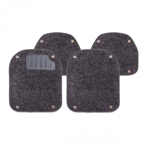 Вкладыши ковролиновые Autoprofi для автомобильных ковриков, цвет: черный, 4 штSC-FD421005Комплект Autoprofi состоит из 2 вкладышей в автомобильные коврики переднего ряда и 2 вкладышей в автомобильные коврики заднего ряда. Вкладыши изготовлены из уютного и износостойкого ковролина. Они легко пристегиваются и снимаются. Надежное крепление гарантируют четыре металлические кнопки. Имеется опора для ног водителя из термопласта, которая обеспечивает комфортное управление автомобилем. Вкладыши устойчивы к влаге, грязи и УФ-лучам. Характеристики: Материал: ковролин, термопласт. Цвет: черный. Размер вкладыша для ковриков переднего ряда: 4 см х 4,8 см. Размер вкладыша для ковриков заднего ряда: 4 см х 3,6 см. Артикул: PET-500i BK.