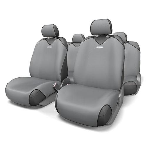 Чехлы-майки на сиденья Autoprofi R-1 Sport, полиэстер, цвет: темно-серый, 9 предметов. R-802 D.GYVT-1520(SR)Чехлы-майки на сиденья Autoprofi R-1 Sport выполнены из высококачественного полиэстера. Такая форма автомобильных чехлов позволяет без затруднений надевать их на кресла любого типа, не прибегая к демонтажу подголовников и подлокотников. Эластичный полиэстер маек плотно облегает поверхность кресел, не выцветает на солнце и не электризуется. Чехлы-майки на сиденья Autoprofi R-1 Sport выполнены в спортивном стиле, который придает салону яркие и динамичные черты. Широкая гамма расцветок чехлов позволяет подобрать их к любому интерьеру автомобиля. Имеется возможность использования с любыми типами сидений. Комплектация: - 1 сиденье заднего ряда, - 1 спинка заднего ряда, - 2 чехла переднего ряда, - 5 подголовников, - набор фиксирующих крючков.Особенности: Использование с любыми типами сиденийТолщина поролона - 2 мм